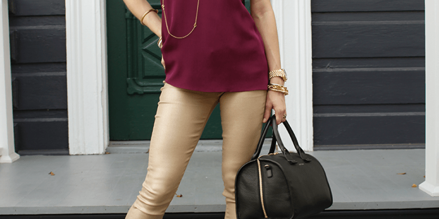 burgundy and gold outfit post