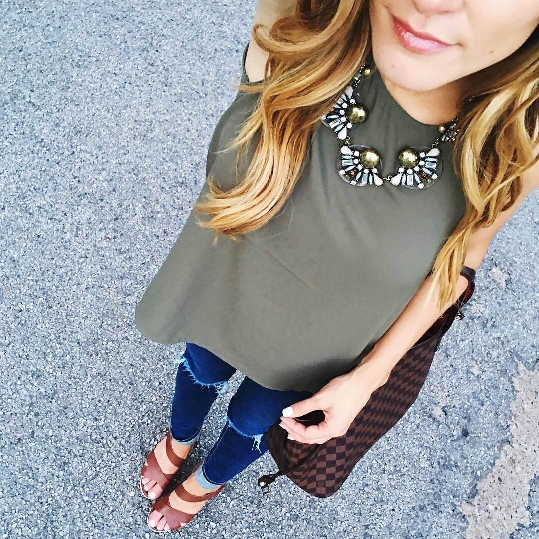 brighton the day from above of olive tank and statement necklace ootd