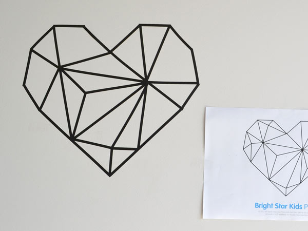 DIY Geometric Shapes Tutorial Using Line Art Wall Decals   Bright     Geometric Shapes Tutorial using Line Art Wall Decals