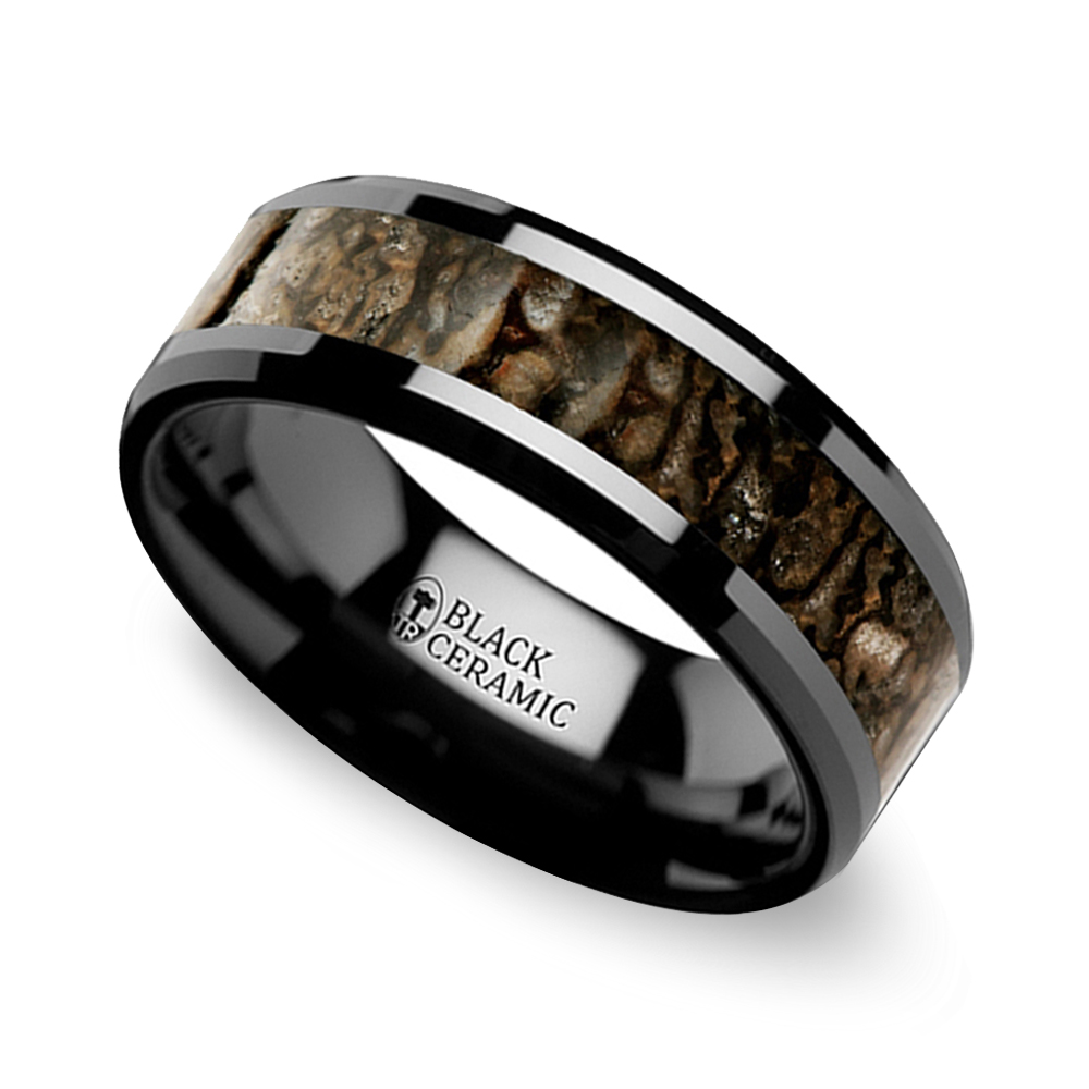 beveled dinosaur bone mens wedding band ceramic mens ceramic wedding bands
