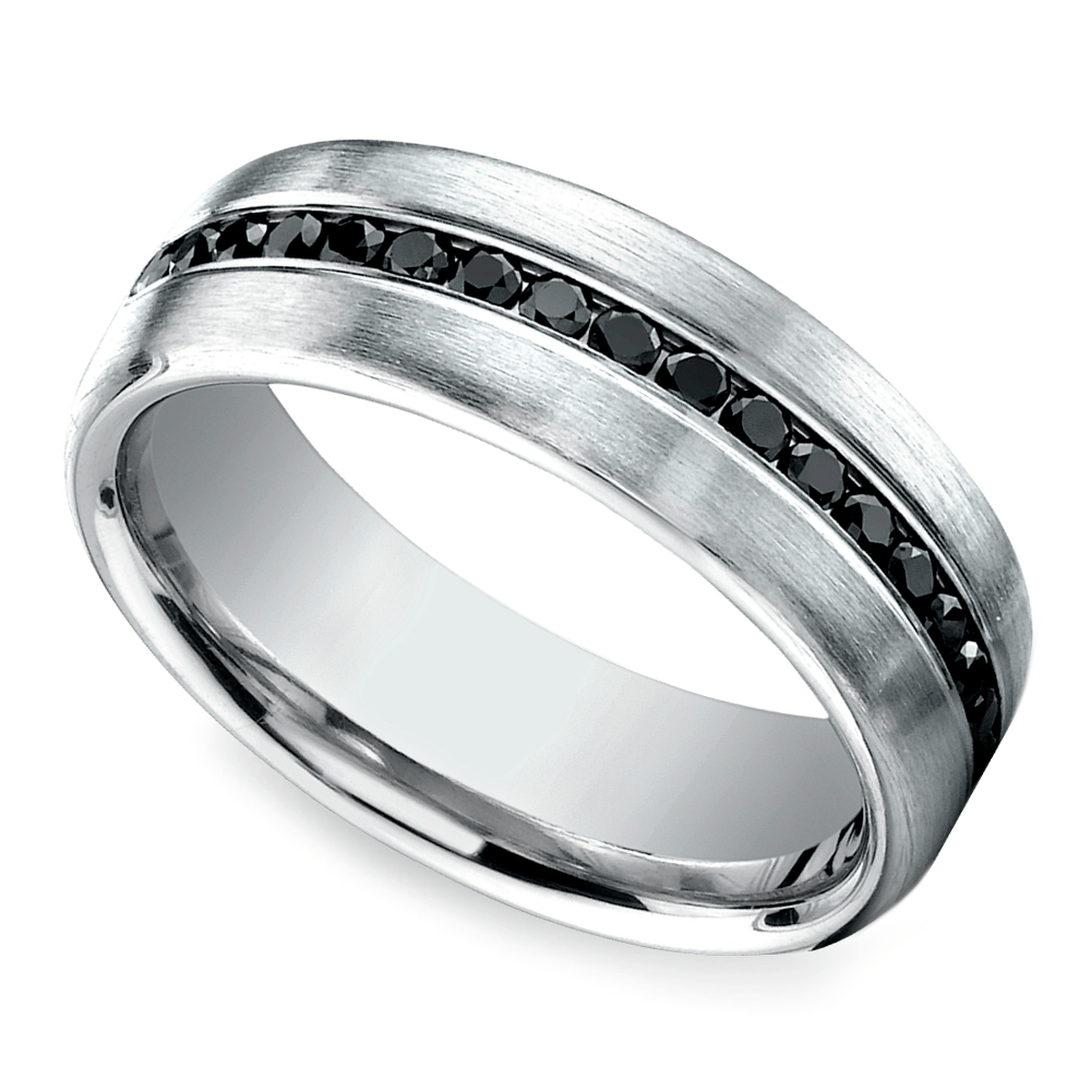 channel black diamond mens band white gold wedding rings black