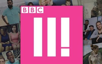 bbc three logo promoting it's comedy feeds season