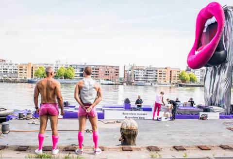 Inspecting the boat before departure. We had the pinkest boat of Pride 2015!