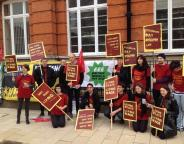 Staff outside the Ritzy Cinema. Picture by @Uniteresist on Twitter
