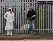 Statue at Brixton station gift wrapped