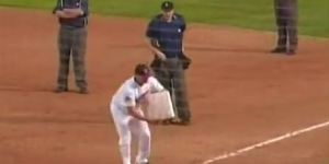 Winnipeg Goldeyes manager gets ejected; takes first base with him