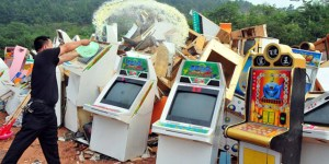 Here we have Chinese cops torching a bunch of arcade machines