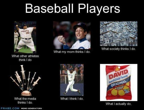 baseball players, what people think I do and what I actually do