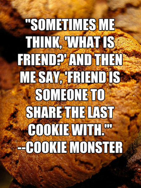 """""""Sometimes Me Think, 'What is Friend?' and then me say, 'Friend is someone to share the last cookie with.'"""" -Cookie Monster"""