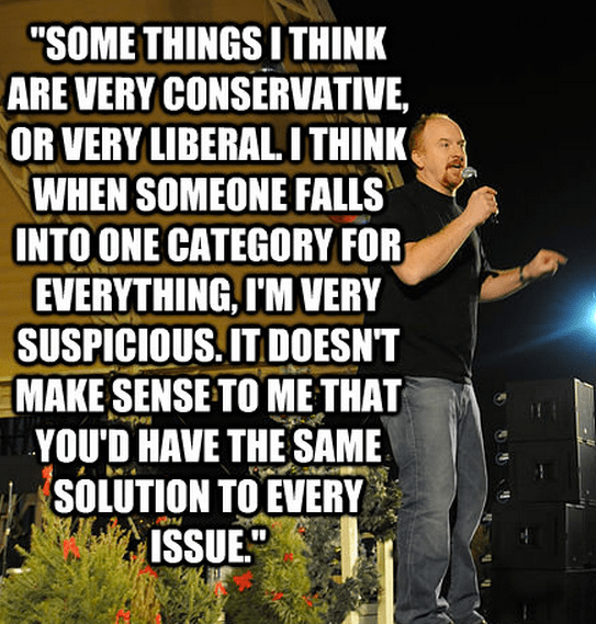 """""""Some things I think are very conservative, or very liberal. I think when someone falls into one category for everything, I'm very suspicious. It doesn't make sense to me that you'd have the same solution to every issue."""""""