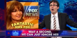 John Oliver plays peekaboo with Sarah Palin