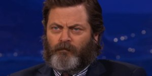 Nick Offerman Shaved Off His Legendary Mustache, Looks Like A Majestic Beet Farmer