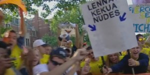 Michigan fans take dead aim at Te'o, Lennay Kekua on College GameDay