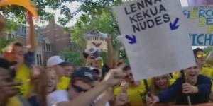 Michigan fans take dead aim at Te'o, Lennay Kekua on College GameDay
