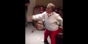 Grandma playing a Kinect fighting game is downright adorable