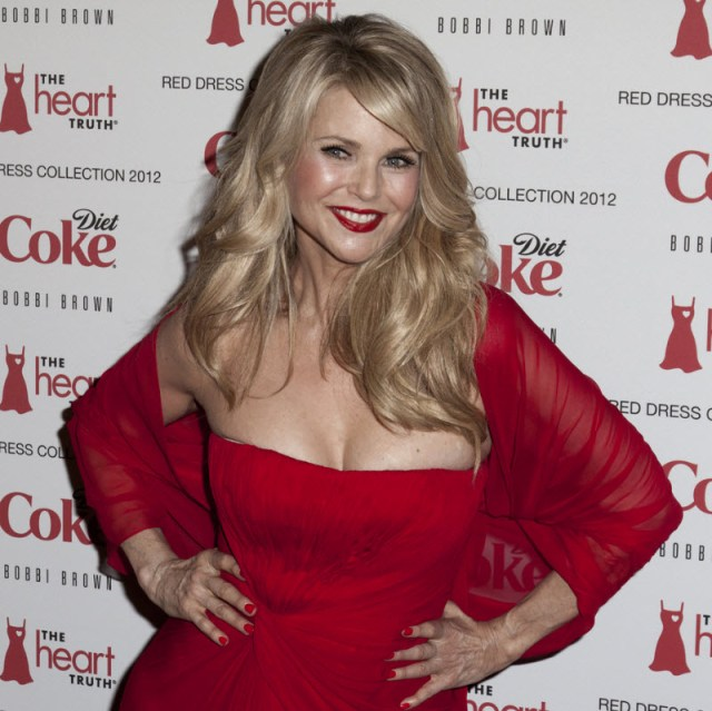Christie Brinkley red dress