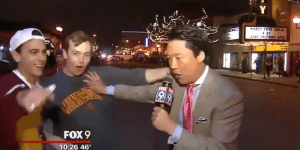 University of Minnesota students riot after hockey loss, completely abuse reporter