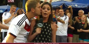Katie Nolan's broadcast interrupted by drunk German's wet kiss