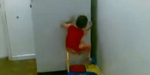 This kid must have been bit by a radioactive spider because his climbing skills are sick