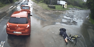 Cyclist hits pothole: sometimes you eat the bar, and sometimes the bar eats you