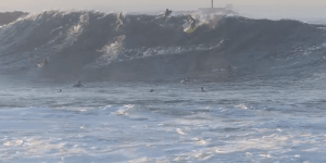 Bro Charges Massive Wave While Holding 2nd Board Switches Surfboards Mid-Wave, Somehow Doesn't Die
