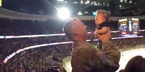 Soldier Surprises Wife At Anaheim Ducks Game, Meets Son For First Time