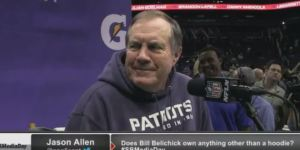 Bill Belichick Wore Flip Flops To Super Bowl Media Day, Actually Smiled While Discussing Stuffed Animals