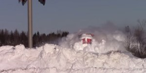 Watch Man Absolutely Dominate Nature As Massive Snowfall Is No Match For Boss Train