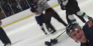 How Bro Is This Semi-Pro Hockey Player Giving A Thumbs Up In The Middle Of A Fight