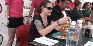 Watch This 120-Pound Woman Eat A 55 Ounce Burger In 2-Minutes, Putting Furious Pete To Shame