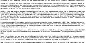 Check Out This Batshit Crazy Tim Tebow Conspiracy Theory Some Nut Emailed To Evan Mathis