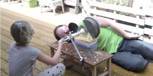Dad Bro Builds Machine Whose Sole Purpose Is To Fling Cereal At His Daughter's Face