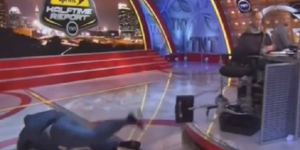 Shaq Trips And Eats It On Live TV During TNT Halftime Show
