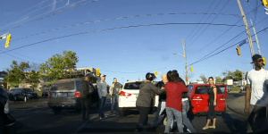 Road Rage Fight Between 2 Drivers Escalates Into All-Out Street Brawl