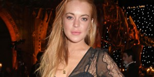 Lindsay Lohan Looking Like A Hot Minx In A See-Through Dress Showing Off Her Bra And Panties