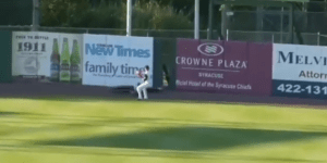 Watch Syracuse Chiefs Center Fielder Mastroianni Run Into An Outfield Wall So Hard It Breaks And Lands On TOP Of Him