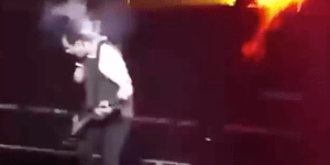 Like Watching Boy Bands Explode Into Flame? Then Here's The Guitarist For 5 Seconds Of Summer Catching Fire On Stage