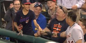 Young Indians Fan Snags Foul Ball, Talks Trash To Miguel Cabrera Until They're Best Friends