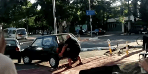 Man Finds Car Parked In The Bike Path And Does Something About It, Definitely Has Not Skipped Leg Day