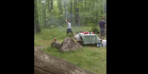 Watch This Drunk Bro Fire A Roman Candle Straight Into His Friend's Face