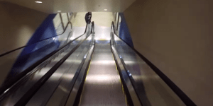 Watch This Guy Ski Down Three Consecutive Flights Of Escalators And Yeah It Gave Us Motion Sickness Too