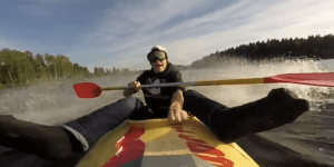Bro Hooks Up His Kayak To A Speed Boat, Then Films His Wild Ride Via A GoPro