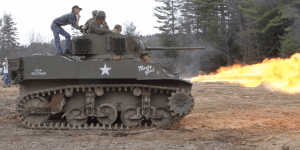 A Bunch Of Old Dudes Built A Flame-Throwing Tank That's Called The 'Nasty Girl'