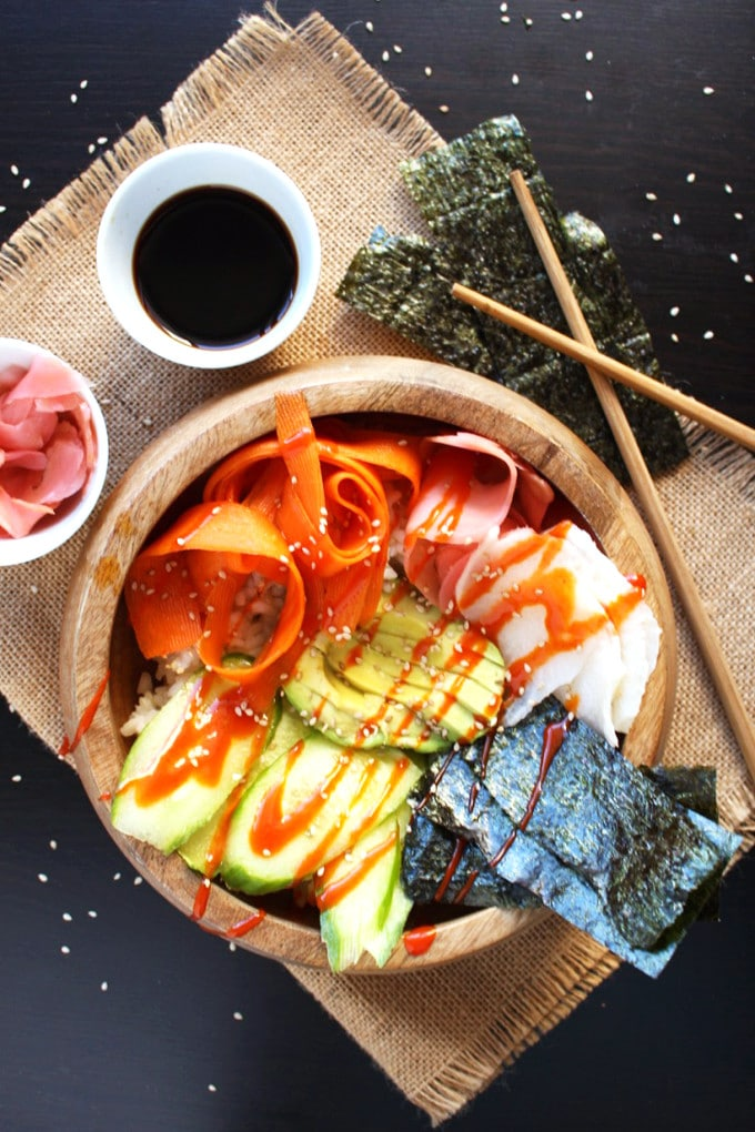 Easy Vegan Sushi Bowls – Plant Strong Vegan Sushi Bowls that are super easy to make and ready to eat in under half an hour.