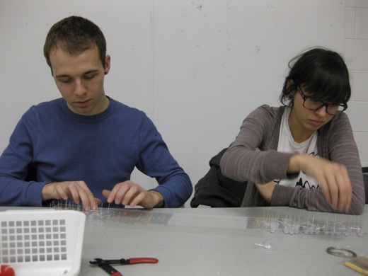 Josh and Danielle working on the LED sign