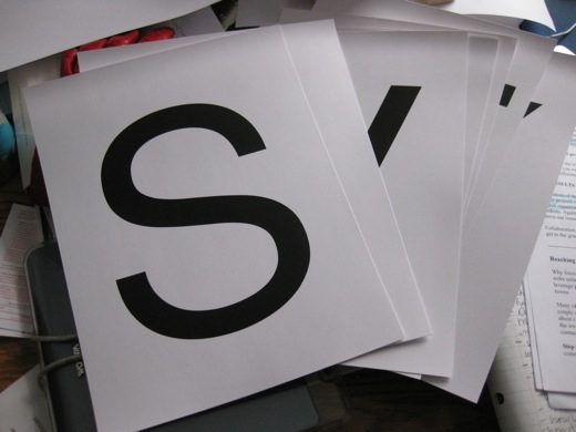SAVE A CITY on card stock, 8 inch letters