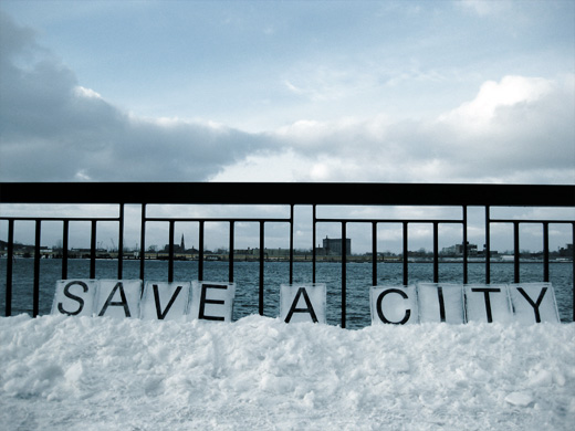 Save A City, Text on Ice by Broken City Lab, February 3, 2009