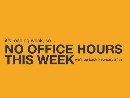 No Office Hours This Week