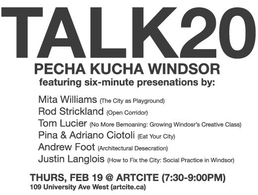 Talk20 in Windsor, Ontario at Artcite