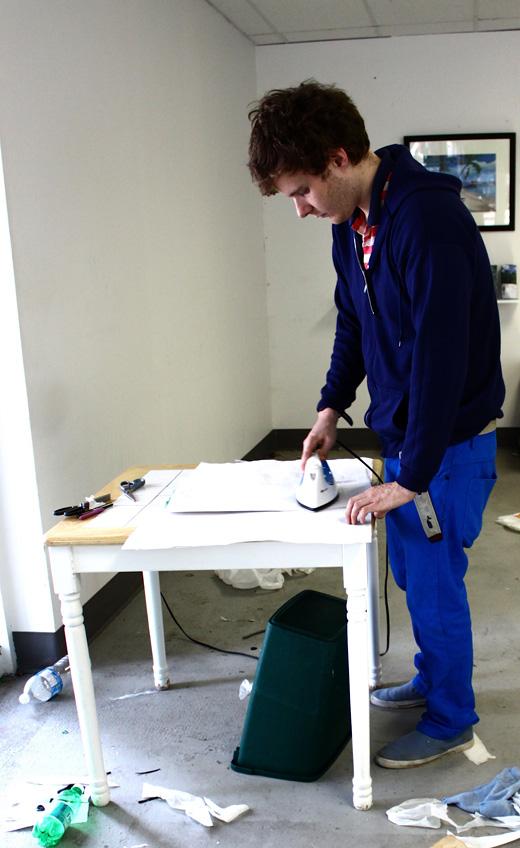 Steven assembling the banner